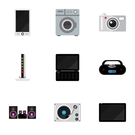 palmtop: Set Of 9 Editable Home Flat Icons. Includes Symbols Such As Cassette Player, Palmtop, Notebook And More. Can Be Used For Web, Mobile, UI And Infographic Design.