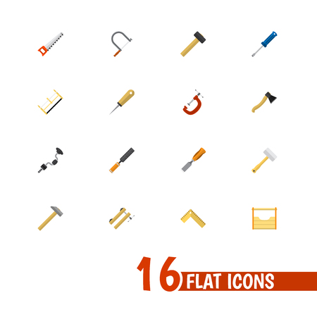 Set Of 16 Editable Tools Flat Icons. Includes Symbols Such As Nag, Hacksaw, Boer And More. Can Be Used For Web, Mobile, UI And Infographic Design. Illustration