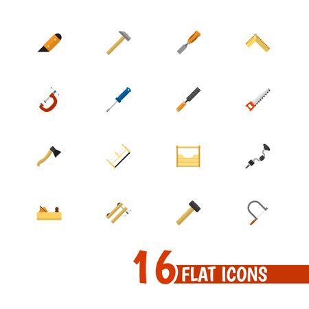Set Of 16 Editable Tools Flat Icons. Includes Symbols Such As Clamp, Turn-Screw, Knife And More. Can Be Used For Web, Mobile, UI And Infographic Design. Illustration