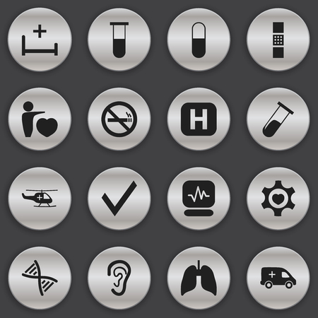 Set Of 16 Editable Clinic Icons. Includes Symbols Such As Analysis Container, Respiratory Organ, Heart And More  イラスト・ベクター素材