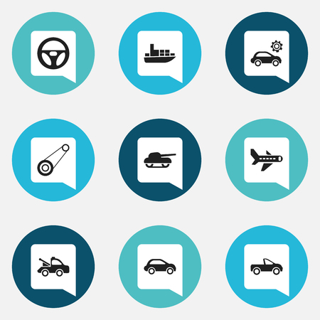 Set Of 9 Editable Shipment Icons. Includes Symbols Such As Garage, Spyglass, Drophead Coupe And More Illustration