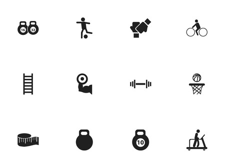 heavy: Set Of 12 Editable Fitness Icons. Includes Symbols Such As Executing Running, Bicycle Rider, Weightlifting And More