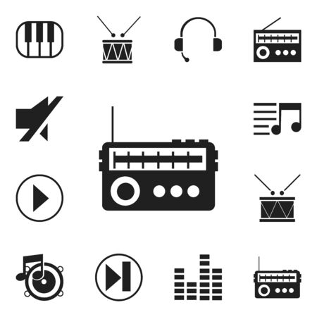 Set Of 12 Editable Melody Icons. Includes Symbols Such As Timpano, Forward, Bar Wave And More Illustration