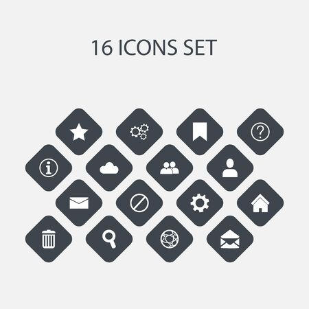 wap: Set Of 16 Editable Network Icons. Includes Symbols Such As Recycle Bin, Gear, Magnifier And More Illustration
