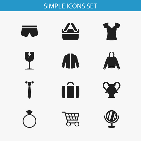 Set Of 12 Editable Shopping Icons. Includes Symbols Such As Necktie, Jewelry, Vest And More