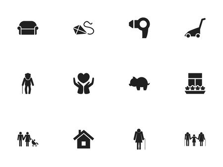 Set Of 12 Editable Folks Icons. Includes Symbols Such As Moneybox, Family, Canape And More Illustration