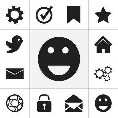 wap: Set Of 12 Editable Internet Icons. Includes Symbols Such As Letter, Emoji, Home And More