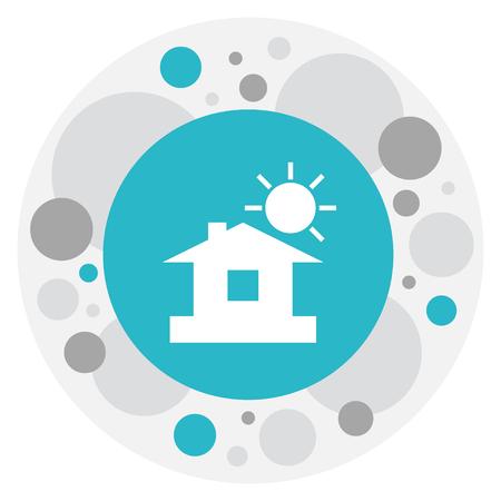 Vector Illustration Of Weather Symbol On Home Icon Ilustração