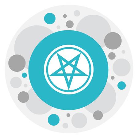 Vector Illustration Of Religion Symbol On Pentagram Icon