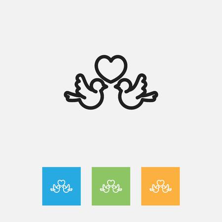 Vector Illustration Of Folks Symbol On Lovebirds Outline