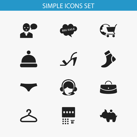 hosiery: Set Of 12 Editable Trade Icons. Includes Symbols Such As Receptionist, Hosiery, Automatic Teller Machine And More