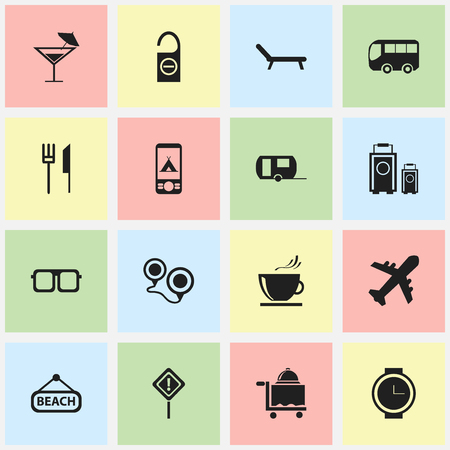 Set Of 16 Editable Trip Icons. Includes Symbols Such As Motorbus, Caravan, Caution And More