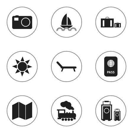 Set Of 9 Editable Trip Icons. Includes Symbols Such As Pamphlet, Briefcase, Citizenship And More