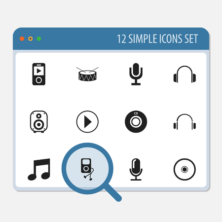 earpiece: Set Of 12 Editable Media Icons. Includes Symbols Such As Media Interview, Earphone, Mp3 Player And More Illustration