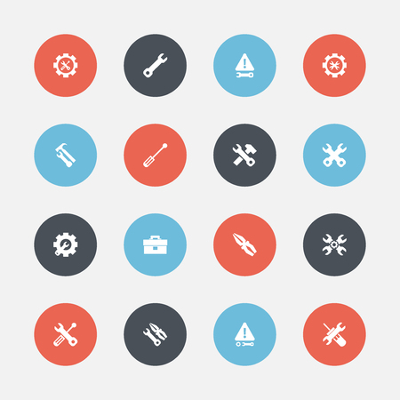 Set Of 16 Editable Repair Icons. Includes Symbols Such As Warning, Wrench Repair, Fix Tool And More Illustration