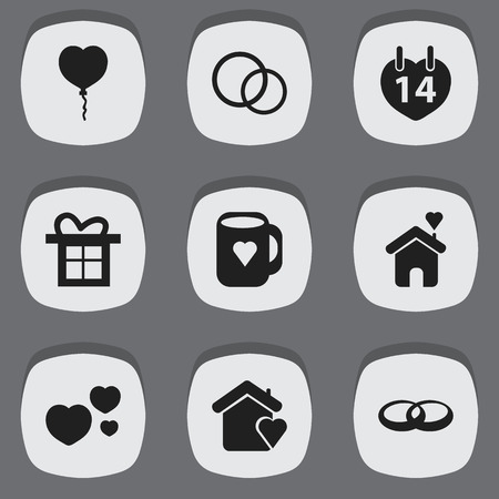 Set Of 9 Editable Heart Icons. Includes Symbols Such As Valentine Balloons, Gift, Wedding And More