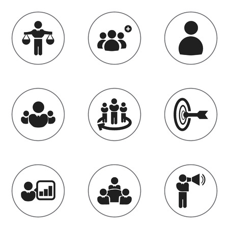 introducing: Set Of 9 Editable Community Icons. Includes Symbols Such As Introducing, Corporate, Goal And More Illustration