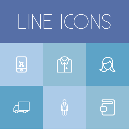 clothing store: Set Of 6 Editable Shopping Outline Icons. Includes Symbols Such As Online Trade, Woman Face, Truck And More