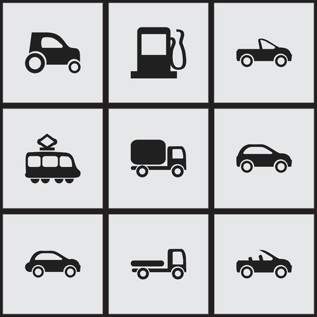 Set Of 9 Editable Transport Icons Includes Symbols Such As