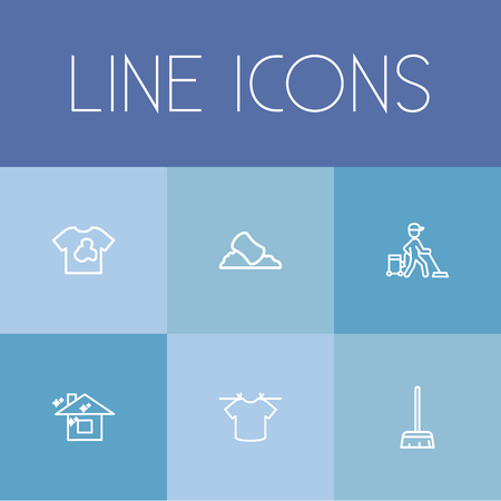 Set Of 6 Editable Hygiene Outline Icons. Includes Symbols Such As Worker, Clean House, Sponge And More