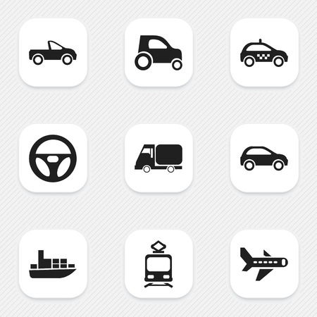 truck: Set Of 9 Editable Shipment Icons. Includes Symbols Such As Drive Control, Ship, Cab And More
