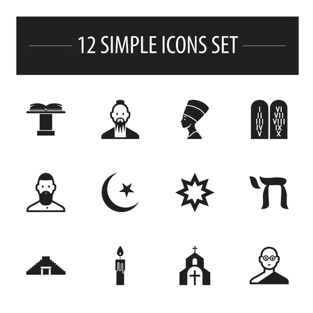popular belief: Set Of 12 Editable Dyne Icons. Includes Symbols Such As Pyramid, Ancient Stone Text, Mohammedanism And More