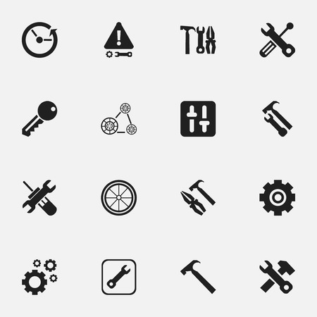 hard: Set Of 16 Editable Repair Icons. Includes Symbols Such As Utility, Cogwheels, Wrench Hammer And More Illustration