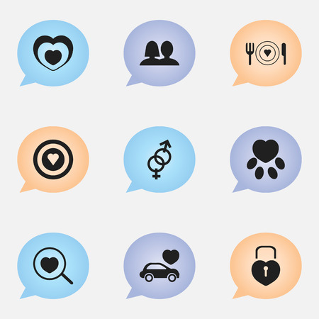 Set Of 9 Editable Amour Icons. Includes Symbols Such As Pounce, Dartboard, Wedlock And More. Can Be Used For Web, Mobile, UI And Infographic Design. 向量圖像