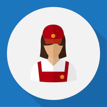 Vector Illustration Of Occupation Symbol On Restaurant Employee Flat Icon. Premium Quality Isolated Servant Element In Trendy Flat Style. Ilustrace