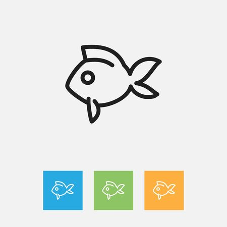 Vector Illustration Of Animal Symbol On Fish Outline. Premium Quality Isolated Turbot Element In Trendy Flat Style.