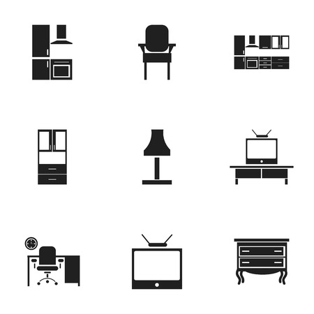 Set Of 9 Editable Interior Icons. Includes Symbols Such As Glim, Cuisine, Stool And More. Can Be Used For Web, Mobile, UI And Infographic Design. Illustration