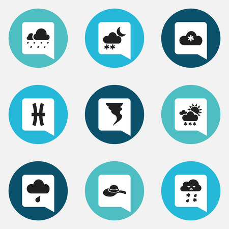 barrage: Set Of 9 Editable Air Icons. Includes Symbols Such As Rainy Cloud, Snowy Sky, Frosty And More. Can Be Used For Web, Mobile, UI And Infographic Design.