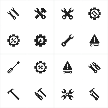 bolt: Set Of 16 Editable Repair Icons. Includes Symbols Such As Screwdriver Wrench, Options, Settings And More. Can Be Used For Web, Mobile, UI And Infographic Design. Illustration