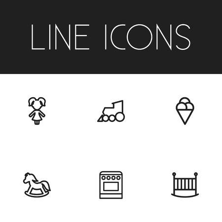 bedstead: Set Of 6 Editable Relatives Outline Icons. Includes Symbols Such As Sorbet, Bedstead, Pony And More. Can Be Used For Web, Mobile, UI And Infographic Design.