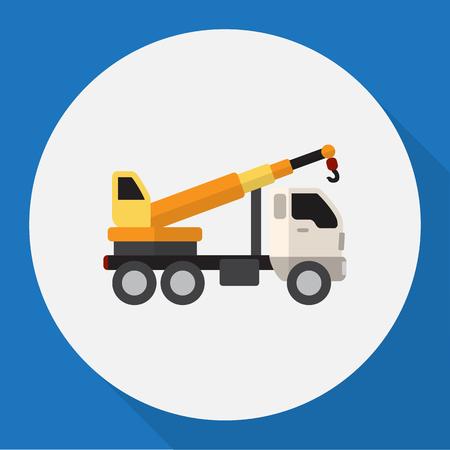 auto hoist: Vector Illustration Of Vehicle Symbol On Crane Flat Icon. Premium Quality Isolated Hoisting Machine Element In Trendy Flat Style.