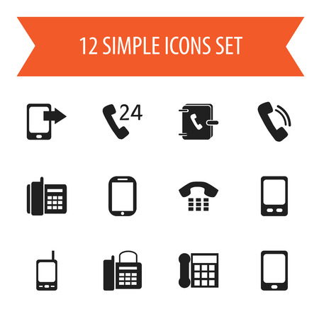 Set Of 12 Editable Gadget Icons. Includes Symbols Such As Radio Talkie, Smartphone, Office Telephone And More. Can Be Used For Web, Mobile, UI And Infographic Design.