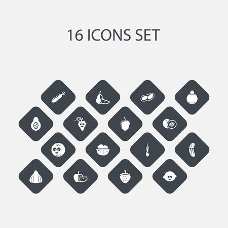 Set Of 16 Editable Food Icons. Includes Symbols Such As Smiling Ball, Nectarine, Berry And More. Can Be Used For Web, Mobile, UI And Infographic Design.