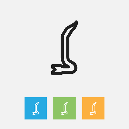 Vector Illustration Of Instrument Symbol On Crowbar Outline. Premium Quality Isolated Jimmy Element In Trendy Flat Style.