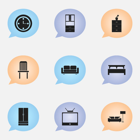 furniture design: Set Of 9 Editable Furniture Icons. Includes Symbols Such As Bearings, Wardrobe, Seat And More. Can Be Used For Web, Mobile, UI And Infographic Design.