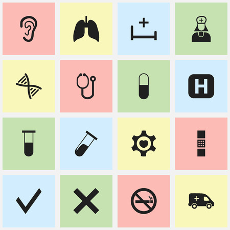Set Of 16 Editable Care Icons. Includes Symbols Such As Wound Band, No Check, Analysis Container. Can Be Used For Web, Mobile, UI And Infographic Design. Illusztráció