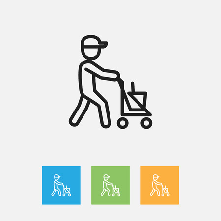 truck: Vector Illustration Of Hygiene Symbol On Janitor Outline. Premium Quality Isolated Worker Element In Trendy Flat Style.