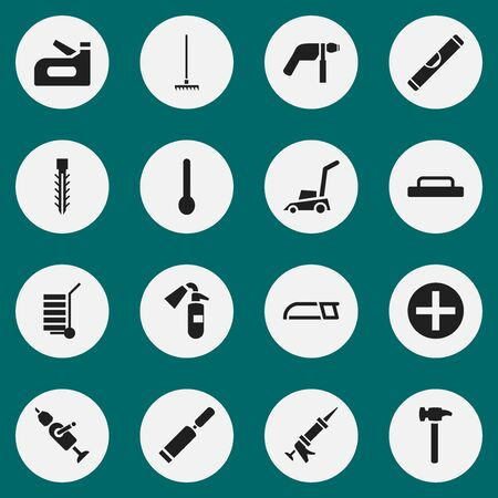 caulk: Set Of 16 Editable Tools Icons. Includes Symbols Such As Plus, Scale, Screwdriver And More. Can Be Used For Web, Mobile, UI And Infographic Design.