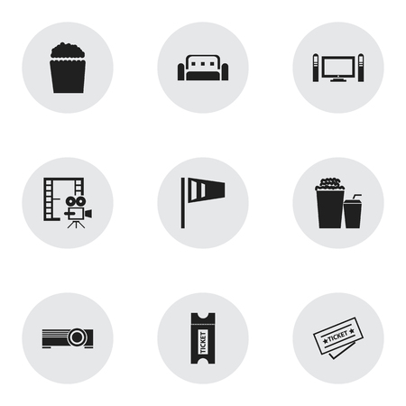 dvd room: Set Of 9 Editable Filming Icons. Includes Symbols Such As Pennant, Coupon, Home Cinema And More. Can Be Used For Web, Mobile, UI And Infographic Design.