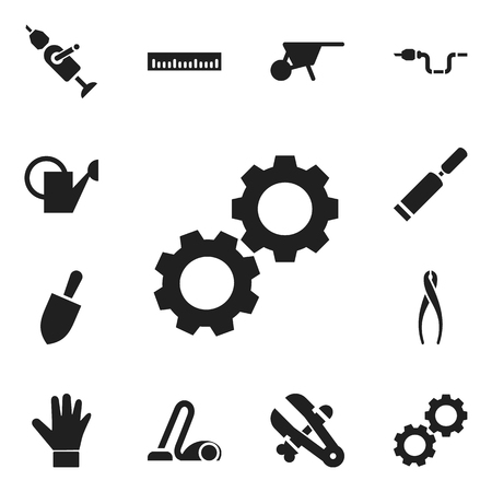 Set Of 12 Editable Equipment Icons. Includes Symbols Such As Pipe, Putty Knife, Sweeper And More Иллюстрация