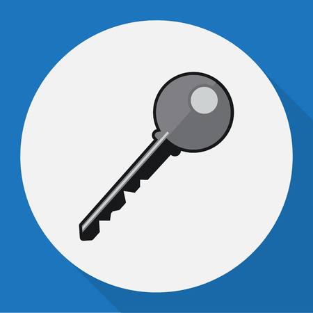 Vector Illustration Of Safety Symbol On Key Flat Icon. Premium Quality Isolated Open  Element In Trendy Flat Style.