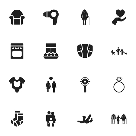 Set Of 16 Editable Folks Icons. Includes Symbols Such As Family, Balcony, Kin And More. Can Be Used For Web, Mobile, UI And Infographic Design. Ilustração