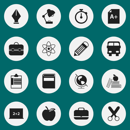 petiole: Set Of 16 Editable School Icons. Includes Symbols Such As Supervision List, Cutting, Textbook And More