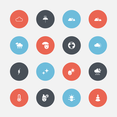 Set Of 16 Editable Air Icons. Includes Symbols Such As Skyless, Snowcapped, World And More Illustration