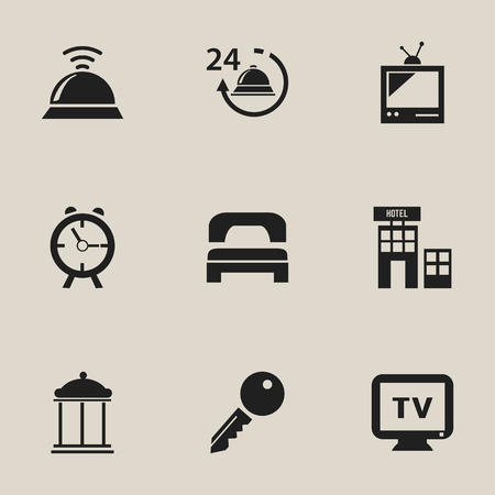 unblock: Set Of 9 Editable Plaza Icons. Includes Symbols Such As Tv, Unblock Access, Entrance And More