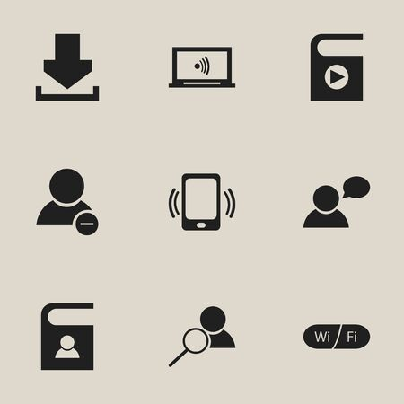 refuse: Set Of 9 Editable Network Icons. Includes Symbols Such As Wifi, Telephone Directory, Log In And More Illustration